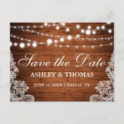 Rustic Wood String Lights Lace Save the Date Announcements Cards
