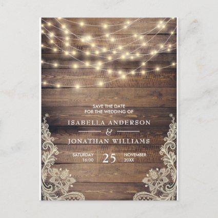 Rustic Wood & String Lights | Lace Save The Date Announcements Cards