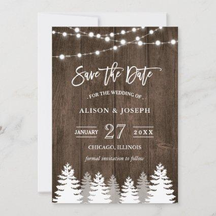 Rustic Wood String Lights Pine Tree Save the Date