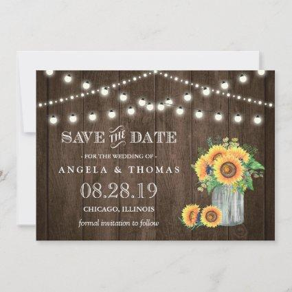 Rustic Wood String Lights Sunflowers Save the Date