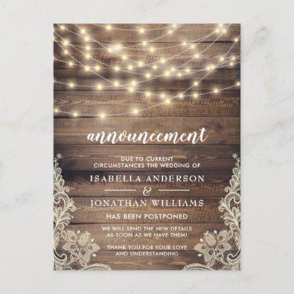 Rustic Wood & String Lights Wedding Announcement