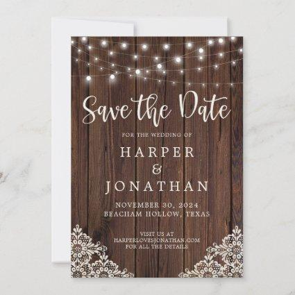 Rustic Wood String Lights Wedding Save the Date