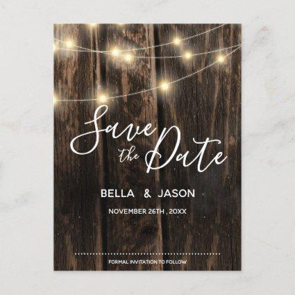 Rustic Wood String Lights Wedding Save The Date Invitation
