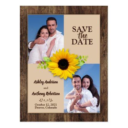 Rustic Wood Sunflower Photo Save the Date Magnet