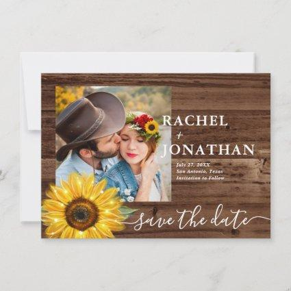 Rustic Wood Sunflower Photo Wedding Save The Date