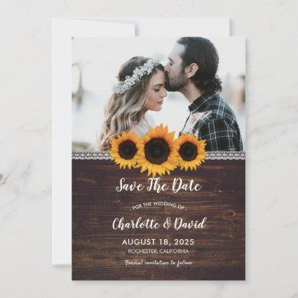Rustic Wood & Sunflower Save The Date Photo
