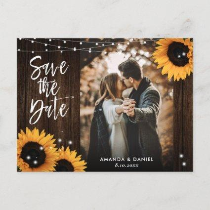 Rustic Wood Sunflower Wedding Photo Save The Date Announcement