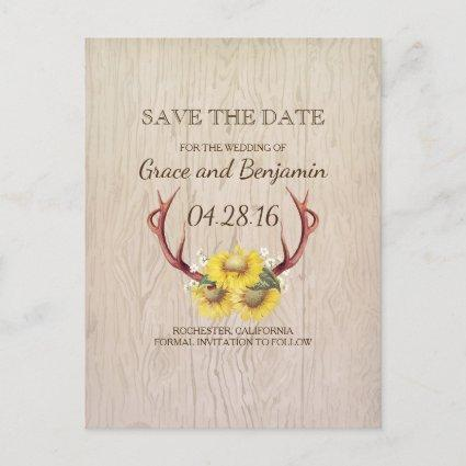 Rustic Wood Sunflowers and Antlers Save the Date Announcement