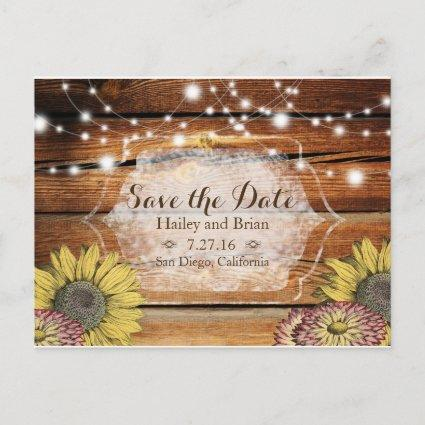 Rustic Wood, Sunflowers ,Typography Save the Date Announcements Cards