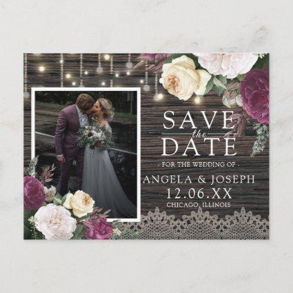 Rustic wood Wedding Save the Date Photo Announcement