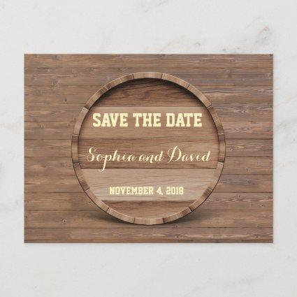 Rustic Wooden Barrel Wedding SAVE THE DATE Announcement