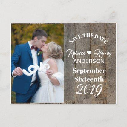 Rustic woodgrain barn wedding save the date announcement