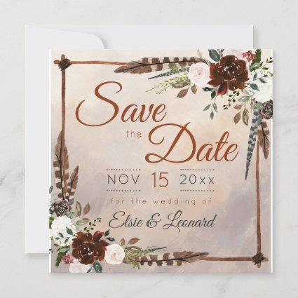 Rustic Woodland Feathers and Floral Bloom Save The Date