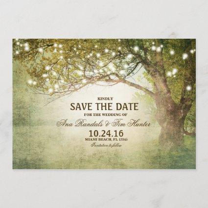 Rustic Woodland String Lights Save The Date