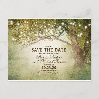 Rustic Woodland String Lights Save The Date Announcement