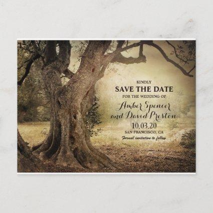 Rustic Woodland Tree Themed Save The Date Announcement
