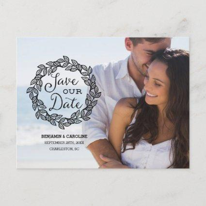 Rustic Wreath | Calligraphy Photo Save the Date Announcement