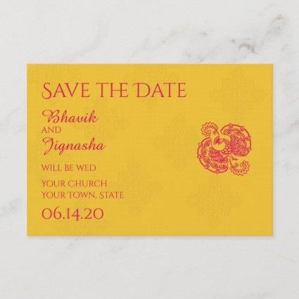 Saffron Pink Peacock Indian Wedding Save the Date