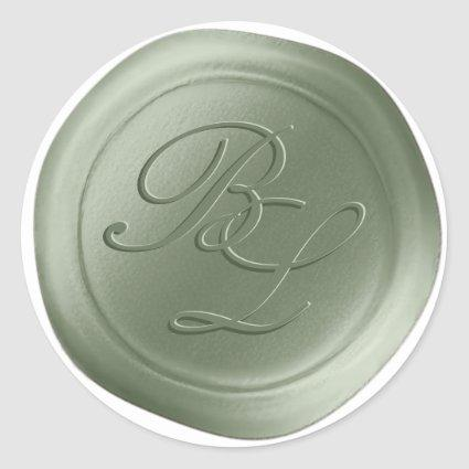 Sage Green Double Monogram Faux Wax Seal Stickers