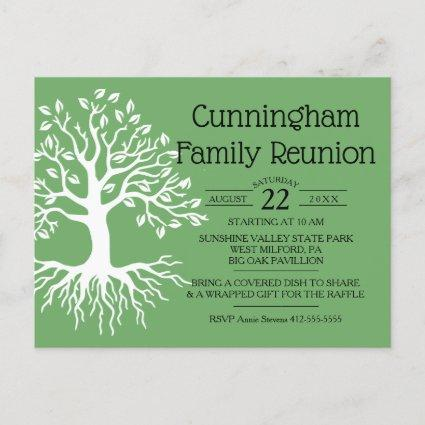 Sage Green Family Reunion Family Tree Silhouette Invitation