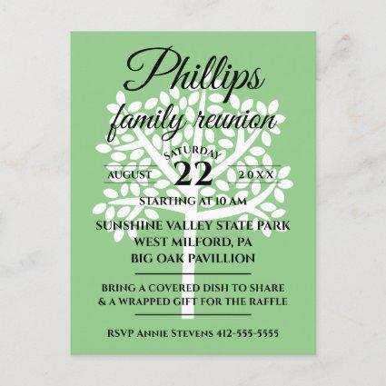 Sage Green Family Reunion White Tree Silhouette Invitation