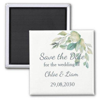Sage Green Leaves Simple Greenery Save the Date Magnet