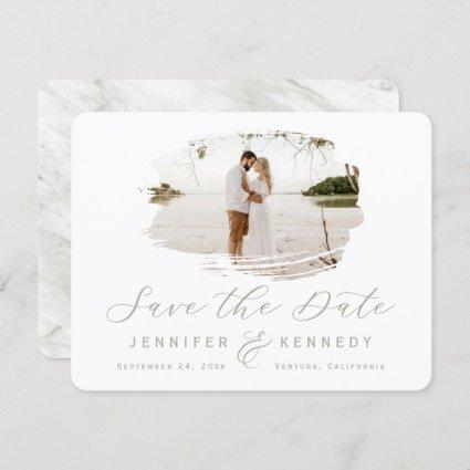 Sage Green Romantic Brushed Frame with Photo Save The Date