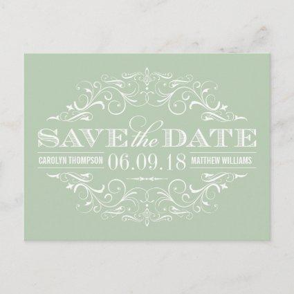 Sage Green Save the Date | Swirl and Flourish Announcements Cards