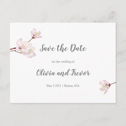 Sakura Pink Cherry Blossom Wedding Save the Date Announcement