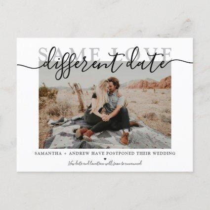Same love different date modern typography photo announcement