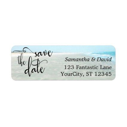 Sand & Aqua Water Photo Modern Beach Save the Date Label