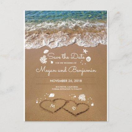 Sand Hearts Beach Summer Save The Date Announcement