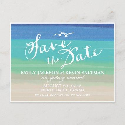 Sand, Sea & Seagulls | Painted Ocean Save the Date Announcements Cards