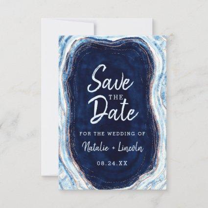 Sapphire Blue Rose Gold Geode Agate Marble Modern Save The Date