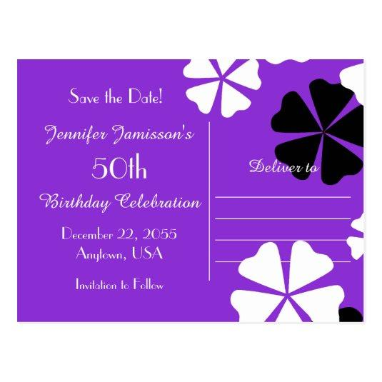 50th birthday party save the date cards pasoevolist 50th birthday party save the date cards save date 50th birthday party purple announcements cards bookmarktalkfo Images