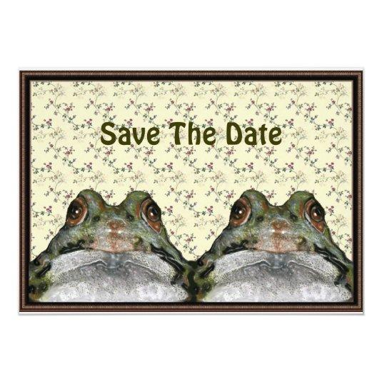 Save Date: Cute Frog Couple in Frame: Floral 5×7 Paper Invitation ...