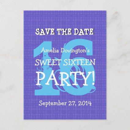 Save Date Sweet 16 Purple Blue Birthday Party V06 Announcement