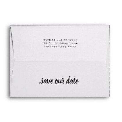 Save Date Wedding Simple Calligraphy Modern Script Envelope