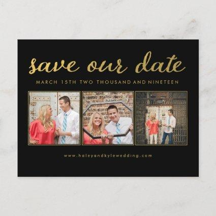 Save our Date Black Gold Typography Photo