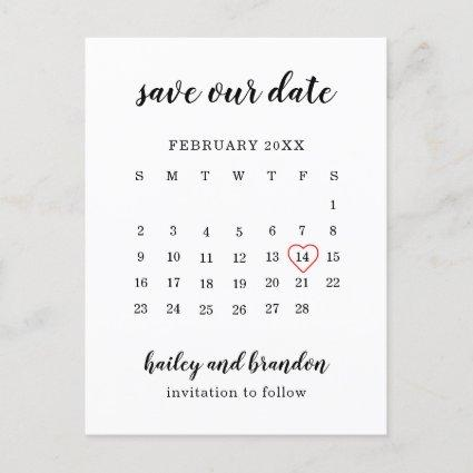Save Our Date Calendar Red Heart Save the Date Announcement