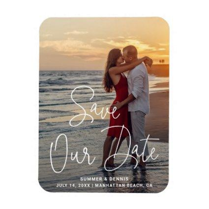 Save Our Date Elegant Script Photo Save the Date Magnet