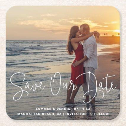 Save Our Date Elegant Script Photo Save the Date Square Paper Coaster