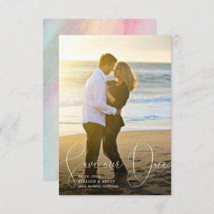 Save Our Date Refined Lines Smooth Pen Script Invitation