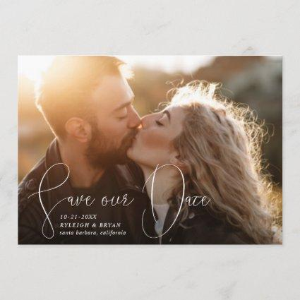 Save Our Date Refined Lines Smooth Pen Stroke Invitation