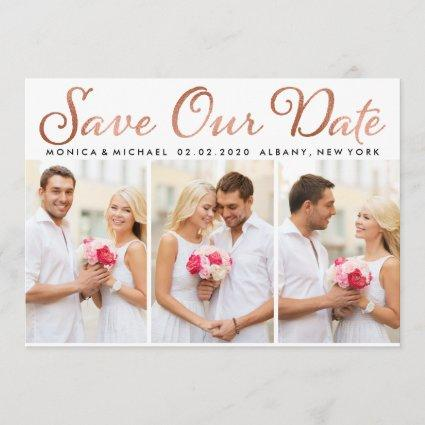Save Our Date Rose Gold Foil Script Photo Save The Date