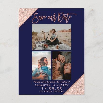 Save our date rose gold navy photo grid collage announcement