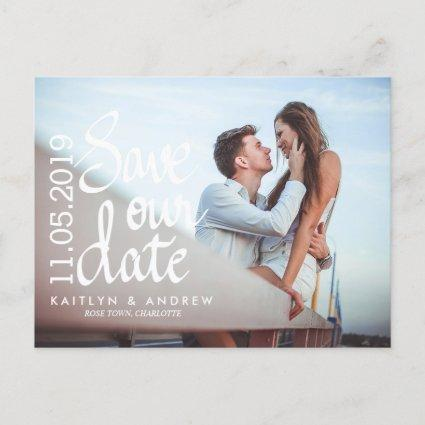 Save Our Date Typography Couple Photo Announcement