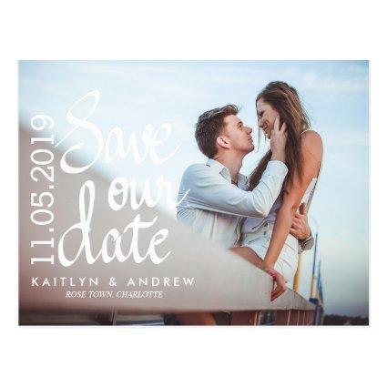Save Our Date Typography Couple Photo Cards