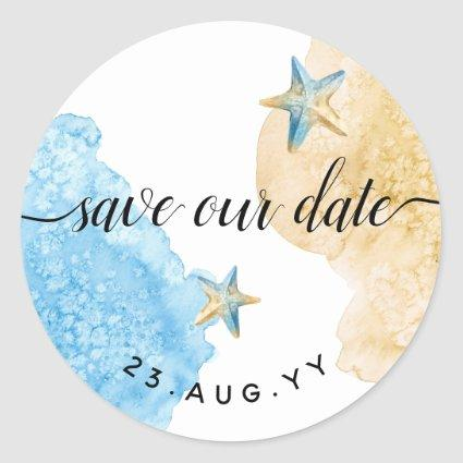 Save Our Date Watercolor Coastal Beach Wedding Classic Round Sticker