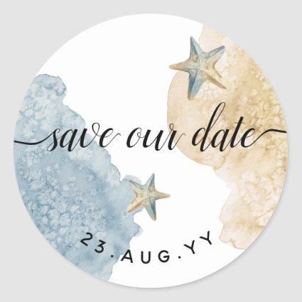 Save Our Date Watercolor Modern Dusty Blue Wedding Classic Round Sticker